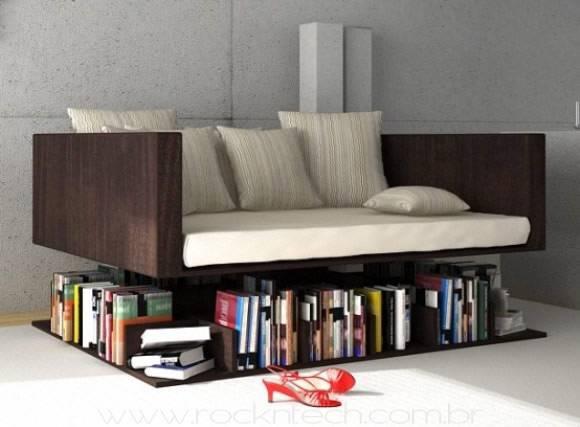 Móveis multiuso sofá livros