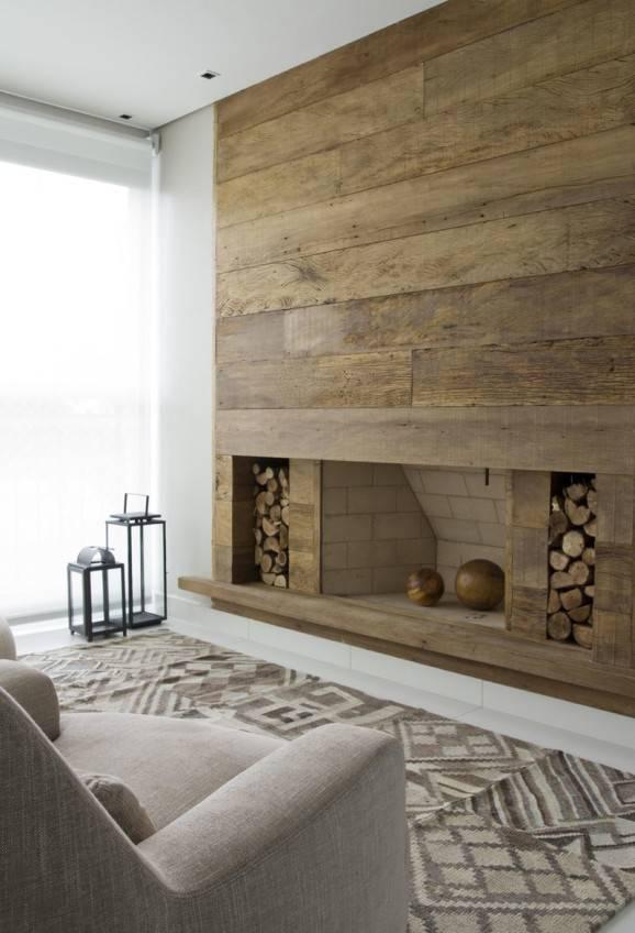 sala  de estar  madeira lareira