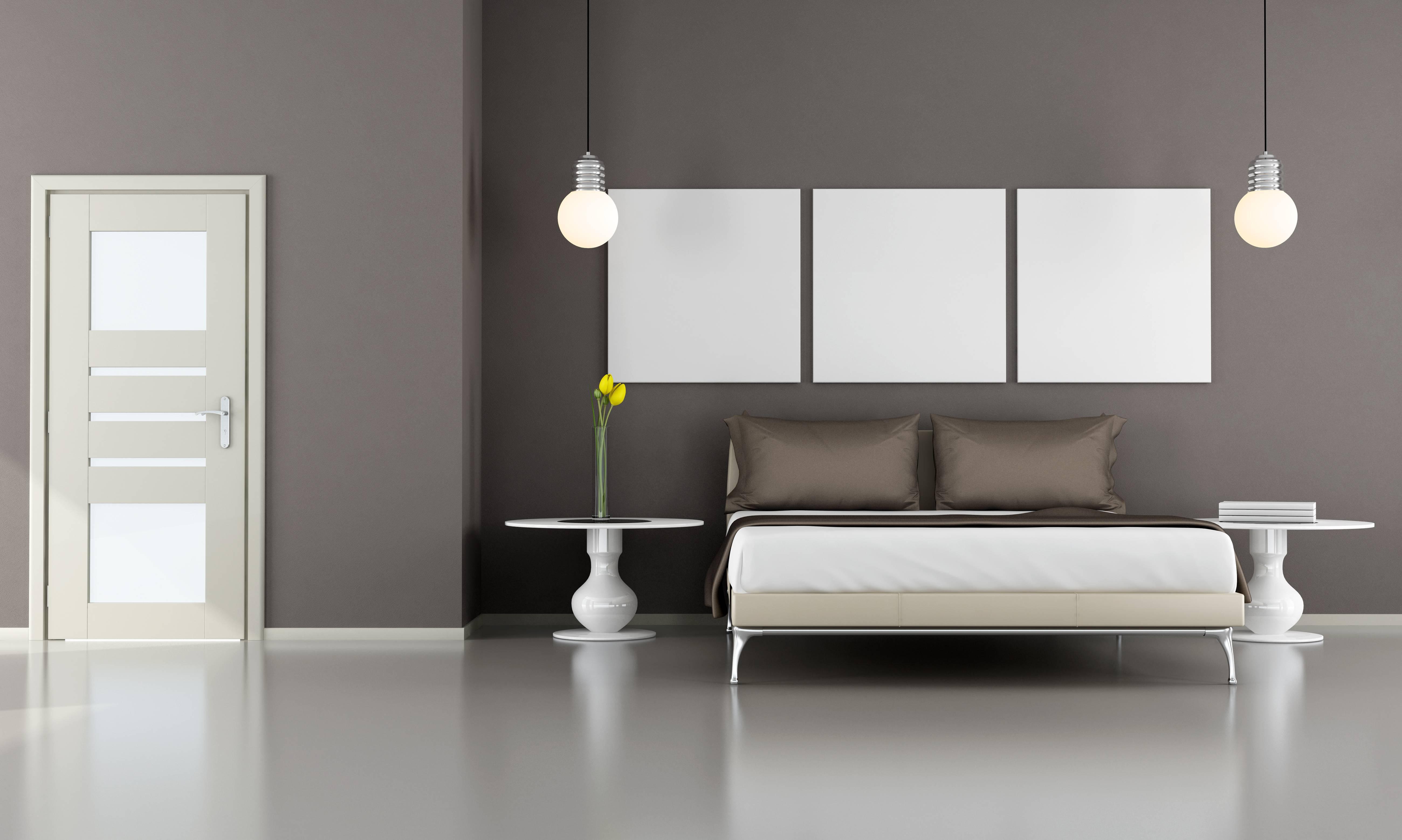 Decoração de quarto com cama cinza