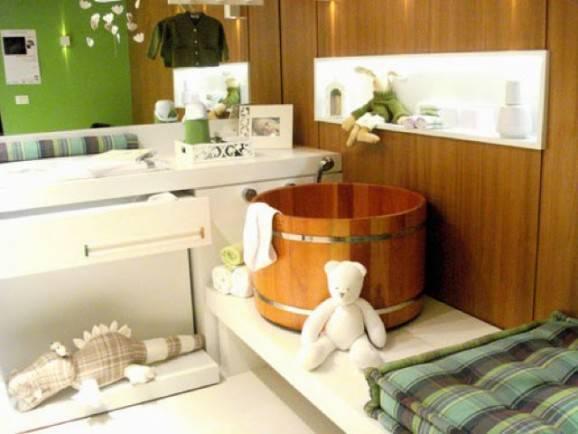 banheiro do bebê madeira ursos