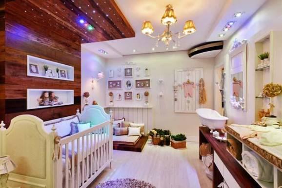 banheiro do bebê lustre iluminação em led madeiras
