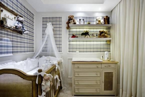 decorar quarto de bebê rustico xadrez