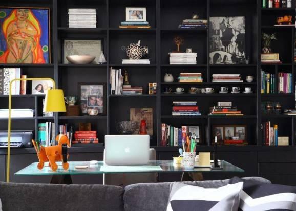 estante preta acessórios para escritório home office