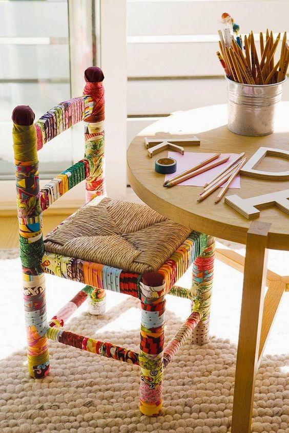 Reforma de cadeira criativa para sala de jantar