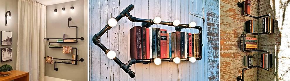prateleiras-criativas-com-canos prateleiras para livros