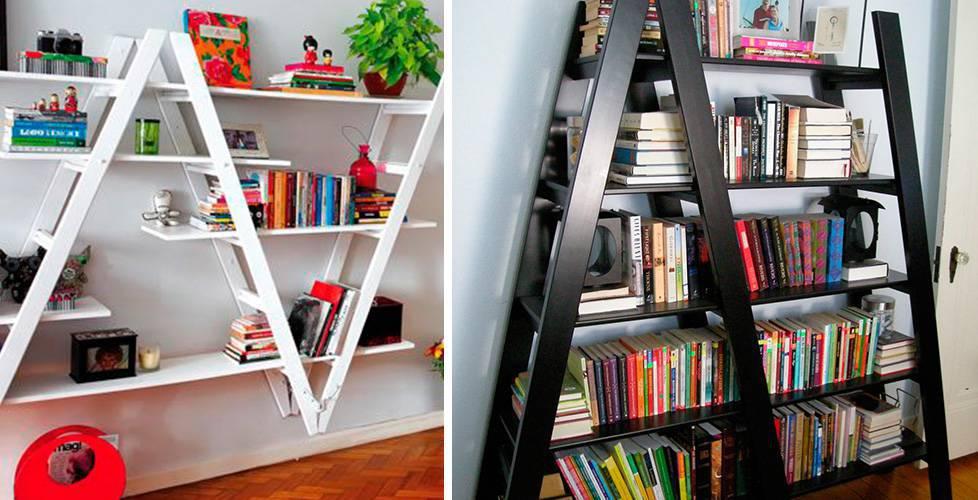 prateleiras-criativas-com-escadas prateleiras para livros