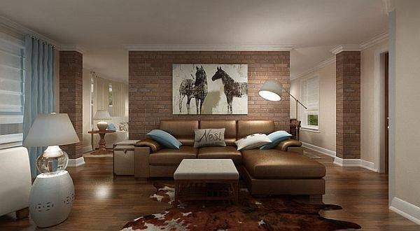 Sala com tijolos aparentes na decoração