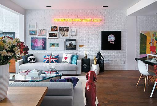 Decoração com tijolos pintados