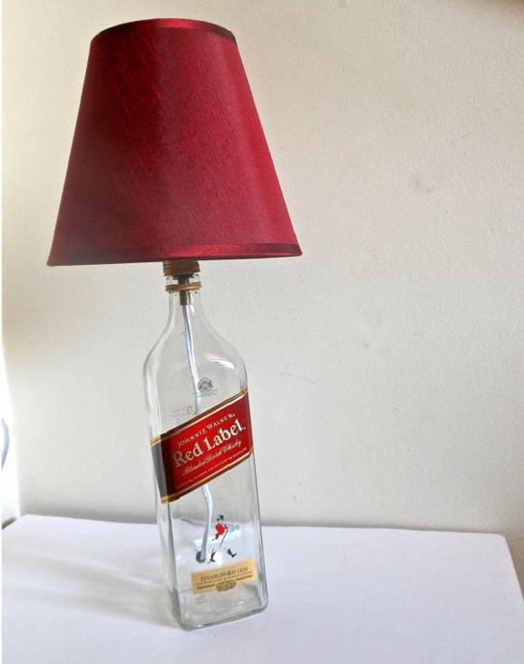 decoração barata abajur de garrafa