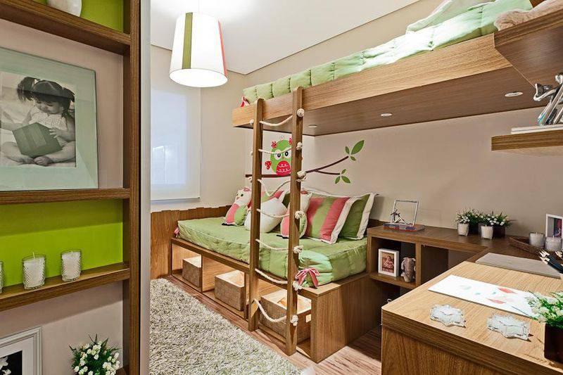 como decorar quarto infantil móveis em madeira beliche