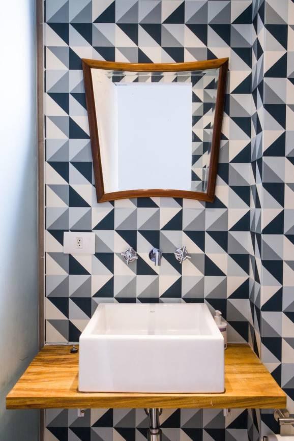 lavabo pequeno papel de parede geometrico