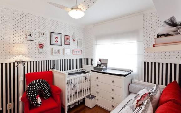 quarto de bebê decorado preto e branco