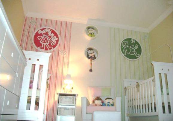 quarto de bebê decorado para gêmeos