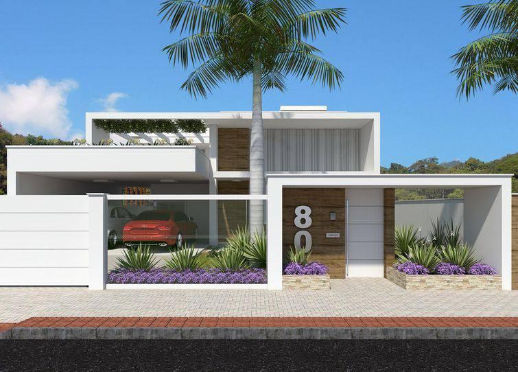 35 modelos de fachadas de casas para voc se apaixonar for Fachadas de casas modernas de 6 metros