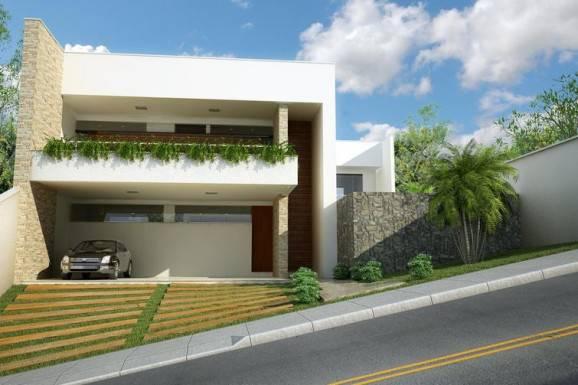 fachadas de casas grandes com plantas