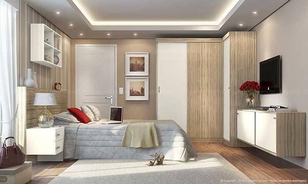 Guarda roupa planejado em quarto simples