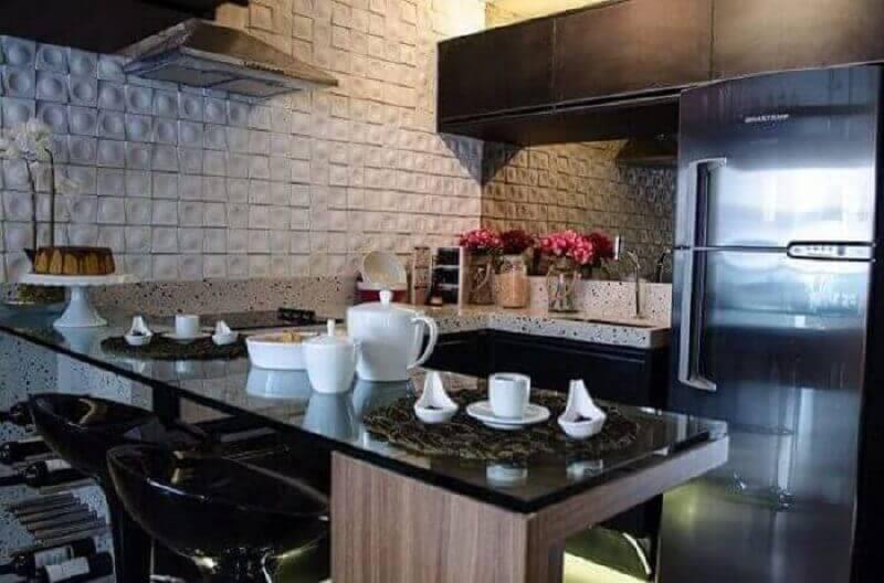 Revestimento 3D branco para cozinha