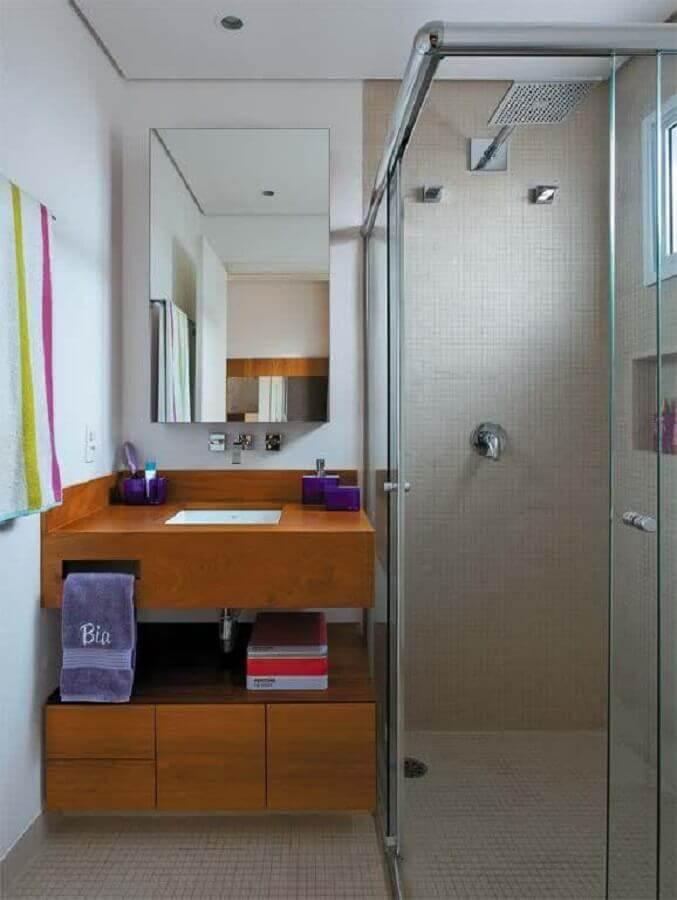 armário de madeira para banheiro pequeno Foto Cobec Construtora
