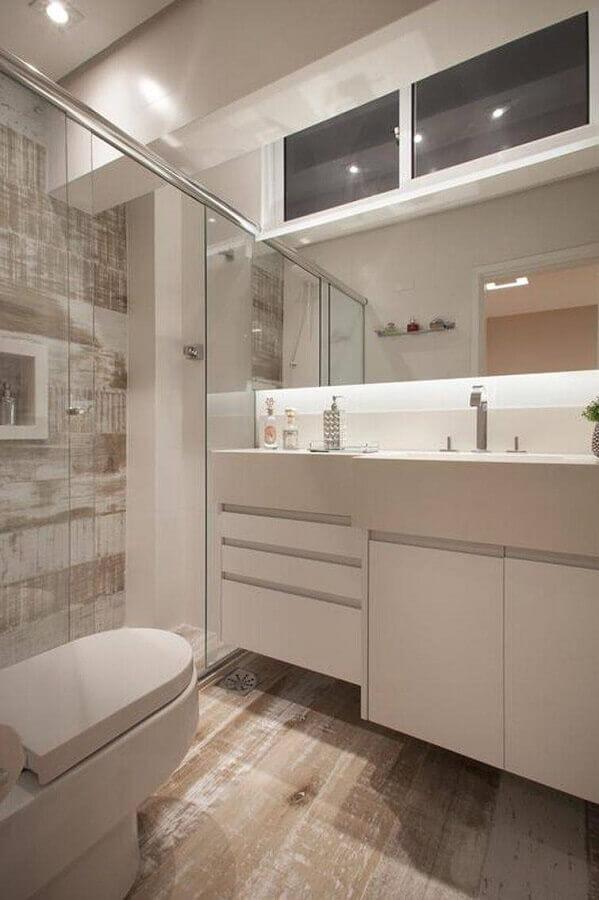 decoração clean com armário para banheiro pequeno planejado Foto Sartori Design