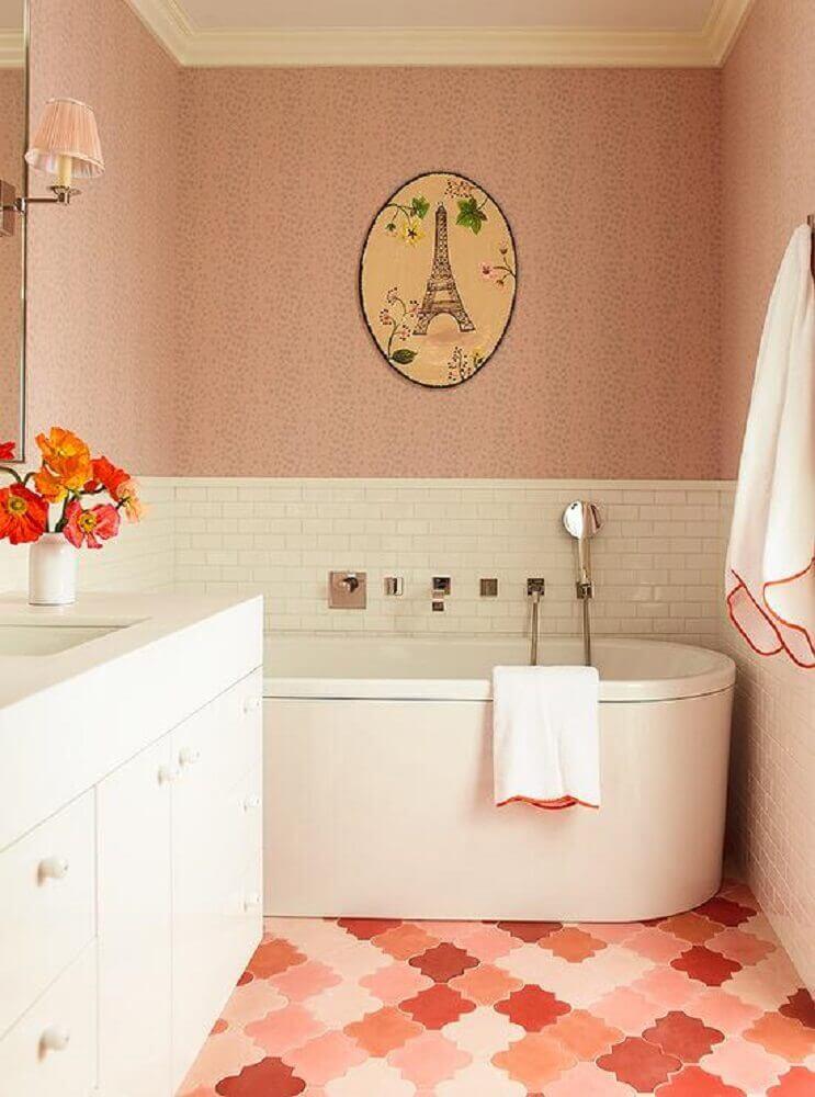 pisos para banheiro cor de rosa