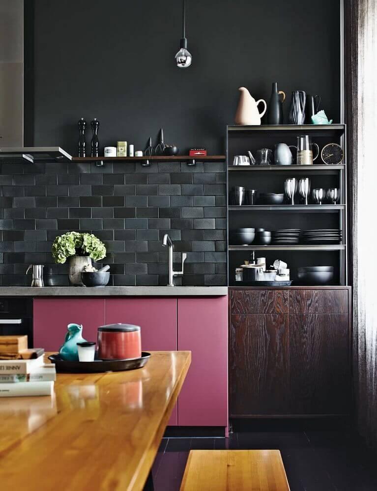 revestimento preto para cozinha