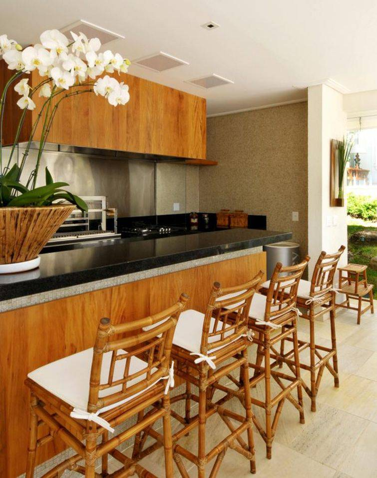 banquetas de cozinha de bambu