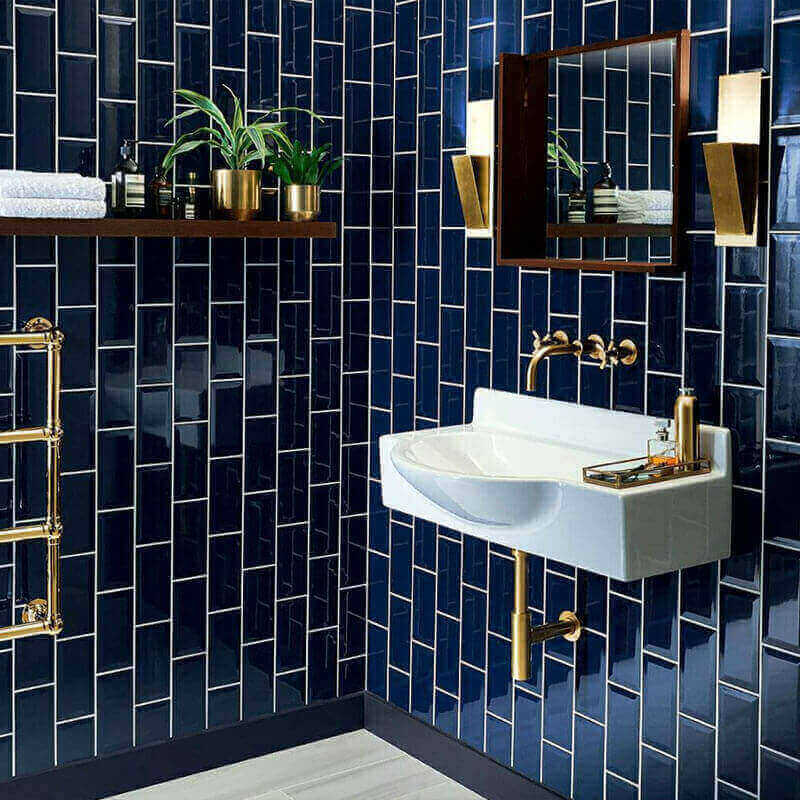 Azulejos para banheiro azul escuro