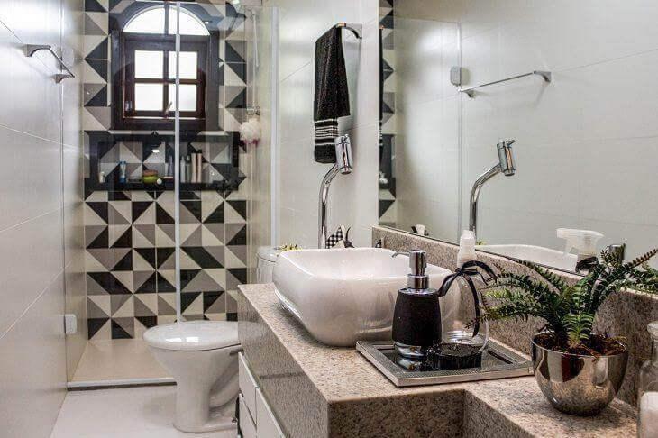 Azulejos para banheiro preto e branco