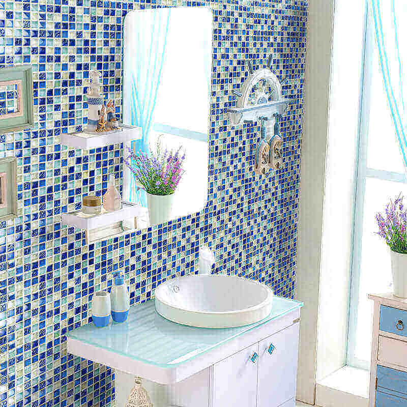 Azulejos para banheiro vidro azul