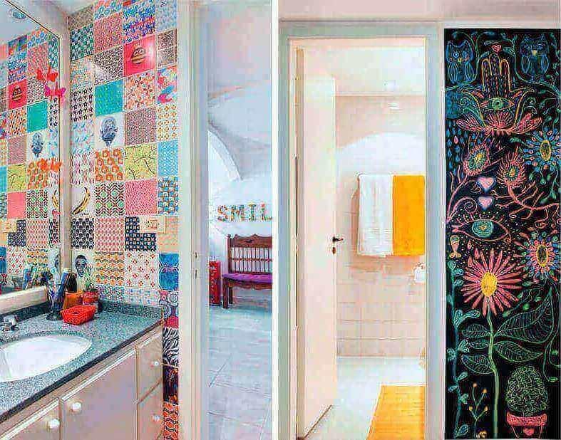 Azulejos para banheiros com adesivos coloridos e estampados