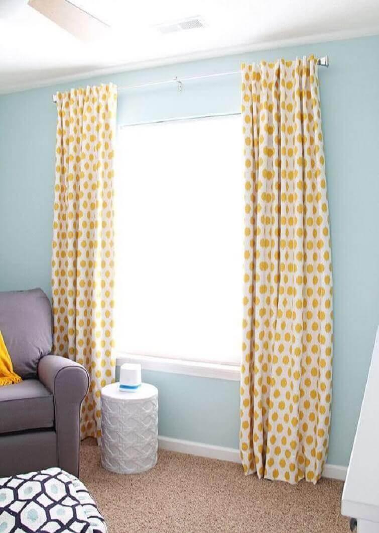 Cortinas para quarto com bolinhas amarelas