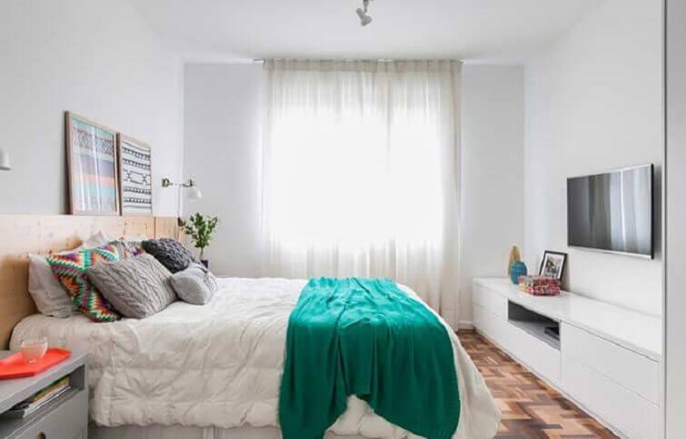 Cortinas para quarto com voal até o chão