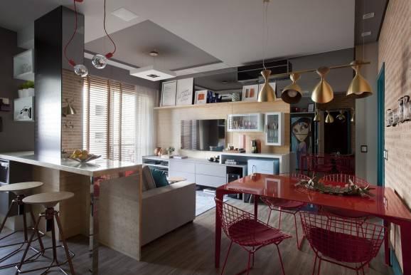 modelo de cozinhas mesa vermelha