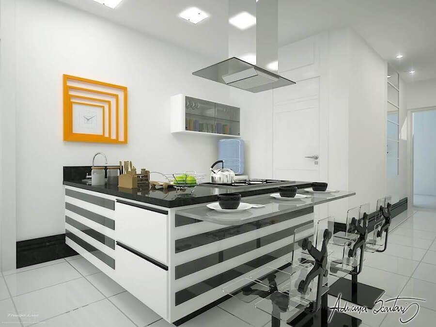 bancada para cozinha americana branca e preta Foto Thiago Luz
