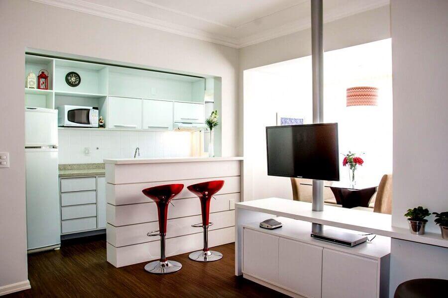 bancada para cozinha pequena toda branca Foto Elisangela Cardoso