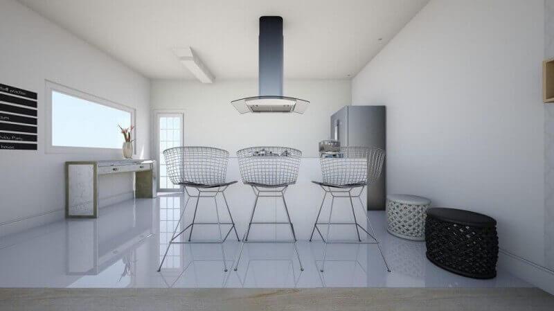 banquetas de ferro com estilo minimalista para cozinha americana