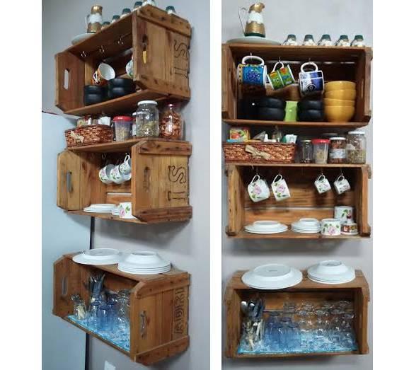 Decoração com caixotes de madeira na cozinha