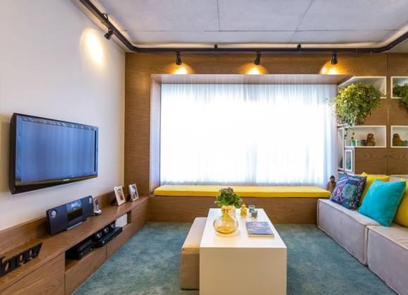 Sala De Estar Com Uma Parede Azul ~ Decoração de casas pequenas, charme e criatividade