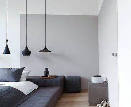 decoração minimalista com luminárias de teto para quarto Foto Pinterest