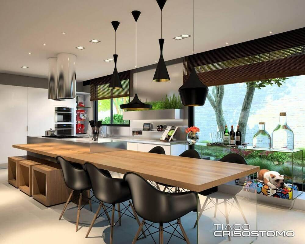 Decoração de cozinha com luminária de teto preta