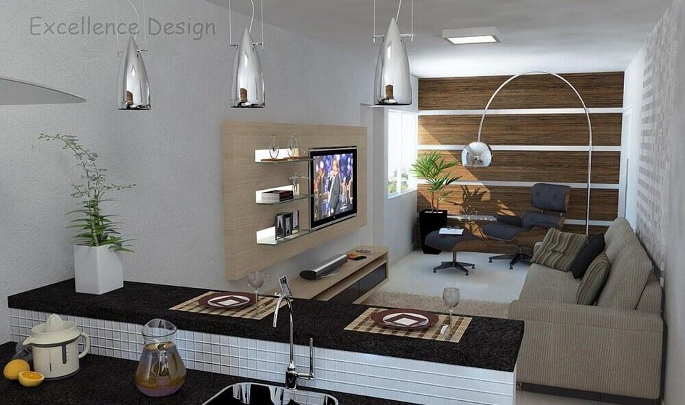 decoração de sala integrada com luminárias de teto