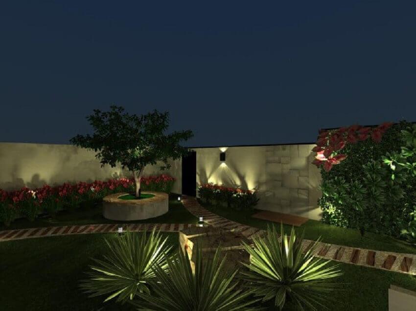 Iluminação de jardim com arandelas