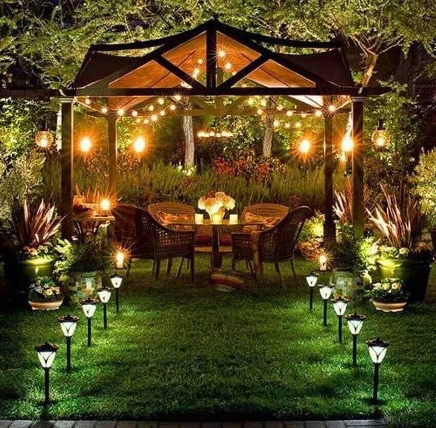 iluminação romântica para jardim