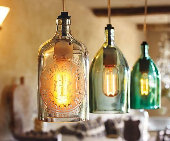 Cozinhas modernas garrafas de vidro