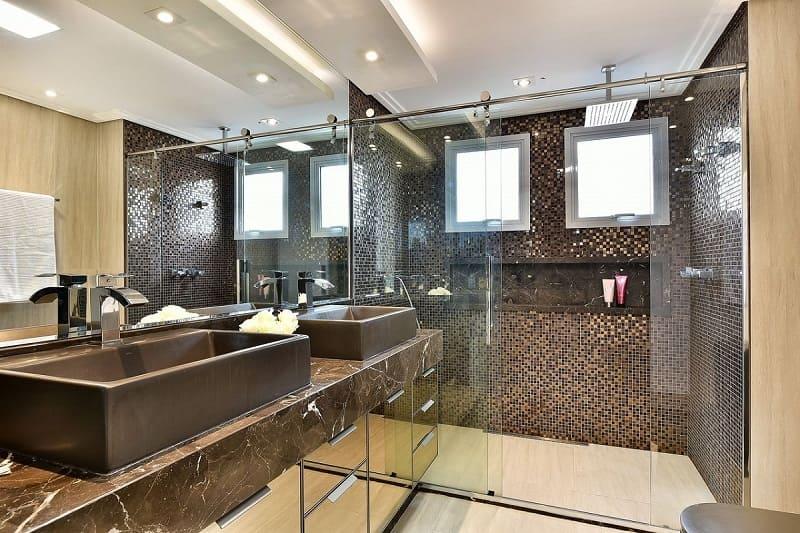 rebaixamento de gesso com detalhe banheiro tetriz arquitetura 156487