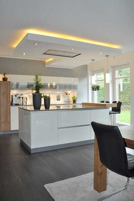 Rebaixamento de gesso para cozinha moderna