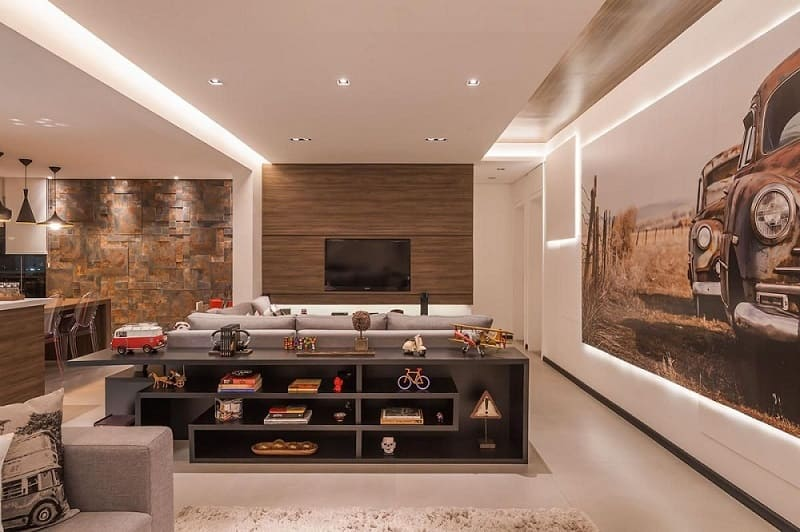 rebaixamento de gesso iluminado sala de estar raduan arquitetura 100093