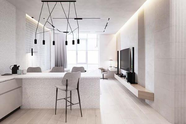 Sala moderna com rebaixamento de gesso