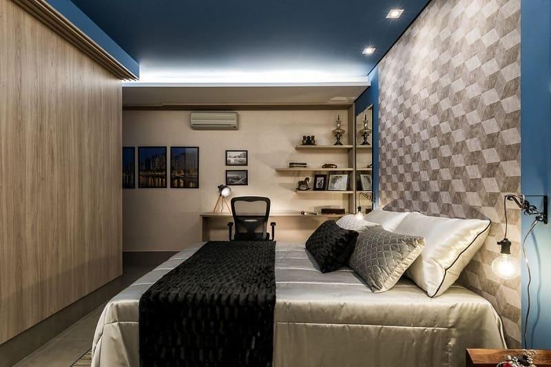 rebaixamento de gesso quarto de casal com iluminacao morar mais por menos goiania 152011