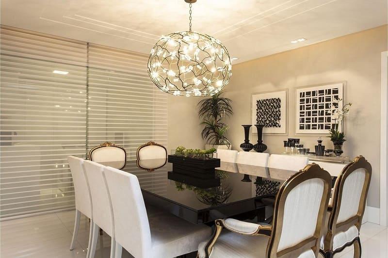 rebaixamento de gesso sala de jantar com pendente flavio moura 3514